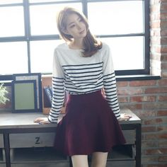 Womens Clothing Store [VANILLAMINT] Cherish T-shirt  / Size : FREE / Price : 25.13 USD #korea #fashion #style #fashionshop #apperal #koreashop #ootd #vanillamint #t-shirt #striped