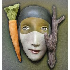 The Carrot or the Stick - Ceramic mask sculpture. $425.00, via Etsy.