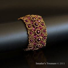 Textured Bracelet with Crystals in Fuchsia by SmadarsTreasure, $92.00