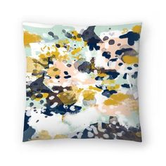 Sloane - Abstract painting in modern fresh colors navy mint blush cream white and gold Throw Pillow White And Gold Pillows, Gold Throw Pillows, Throw Pillow Covers, Decorative Throw Pillows, Couch Pillows, Cushions, Accent Pillows, Blush Throw Pillow, Modern Pillows