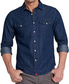 OTW Men Casual Pockets Pleated Denim Button Up Short Sleeve Shirts