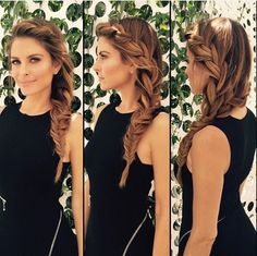 Bridesmaid hair, love the side braid (side braided wedding hairstyles) Side Braid Hairstyles, Pretty Hairstyles, Bridal Hairstyles, Hairstyle Images, Updo Hairstyle, Latest Hairstyles, Hairstyle Ideas, Easy Hairstyles For Work, Wedding Hairstyles