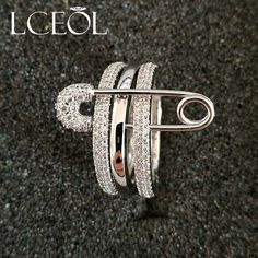LCEOL Crystal Bridal AAA Paved Zircon Rinestone Copper Rings Three Finger Rings With Pin Anillos Anel Pieces for Women Gift