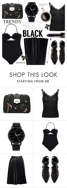 """""""Back to Black ~ GAMISS #16"""" by alexandrazeres ❤ liked on Polyvore featuring Cusp by Neiman Marcus, Zara, monochrome, allblack, fashionset, vacationstyle and gamiss"""