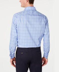 5934b17e58649 Tasso Elba Men s Classic Regular Fit Non-Iron Supima Cotton Medium Twill  Glen Plaid French Cuff Dress Shirt