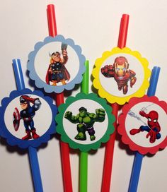 Marvel Super Hero Squad Birthday Party Straws by PartyXtras, $5.00