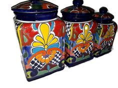 TALAVERA COBALT BLUE 3 Piece Canisters Set From Mexico Handcrafted Mexican - $140.00 | PicClick