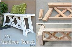 How to Build an Outdoor Bench for $13 - simple tutorial for a DIY project on how to build an outdoor bench made from 2×4's. the article shows you all the materials that are needed (all $13 worth for the lumber) and images of the steps.