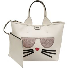 Karl Lagerfeld Kitten Choupette Tote ($300) ❤ liked on Polyvore featuring bags, handbags, tote bags, white tote, karl lagerfeld handbags, handbags totes, tote handbags and white handbags