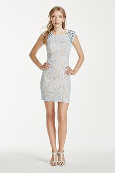 Crystal Embellished Cap Sleeve Lace Dress 3186NA4B