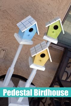 DIY Pedestal Birdhouse Project. Create colorful DIY bird houses to decorate your patio with this summer. These are easy to make and look beautiful in your yard.