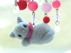 Soft sculpture cat kitten pin needle felted grey by NozomiCrafts, $19.00