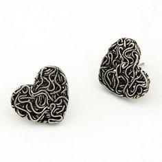 Vintage Style Heart Stud Earrings