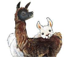 Cute Llama Print Farm Animal Art Llama Pair I by rainbowofcrazy Alpacas, Animal Paintings, Animal Drawings, Art Drawings, Llama Print, Llama Llama, Llama Face, Llama Drawing, Farm Animals