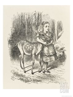 Fawn Alice and the Fawn Giclee Print by John Tenniel at Art.com