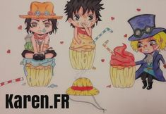 Fan Art de Ace, Luffy et Sabo en chibi cupcake (One Piece)