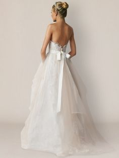 Tulle Strapless Bridal Gown with Re-embroidered Lace #weddingdresses #lace