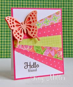 handmade card for the butterfly challenge at The Card Concept: sunray design in hot pinks and chartreusse ... layered die cut butterfly ... bright and beautiful!