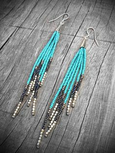 native american beaded earrings | Beaded Fringe Earrings Seed Bead Earrings Native von KadhiBo