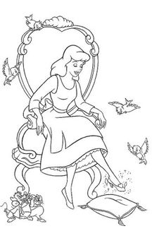 Coloring page about Cinderella Disney movie. Nice drawing of Cinderella trying the glass slipper. Coloring page for all the girls who love Disney movies. Belle Coloring Pages, Cinderella Coloring Pages, Disney Princess Coloring Pages, Disney Princess Colors, Disney Colors, Cartoon Coloring Pages, Coloring Pages To Print, Coloring Book Pages, Printable Coloring Pages
