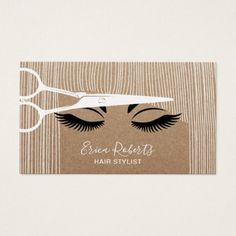 Hair Stylist Scissor & Girl Salon Rustic Kraft Business Card - stylist business cards cyo personalize businesscard diy