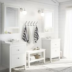 IKEA HEMNES wash-stand with 2 drawers Smooth-running and soft-closing drawers with pull-out stop. Ikea Bathroom, Upstairs Bathrooms, Bathroom Renos, Bathroom Furniture, Small Bathroom, Master Bathroom, Bathroom Pink, Design Bathroom, White Bathrooms