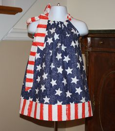 old glory july 4th Pillowcase dress michael miller,  red, white, blue, flag, dress memorial day, fourth of july todder dresses 3 mos thru 4T. $19.99, via Etsy.