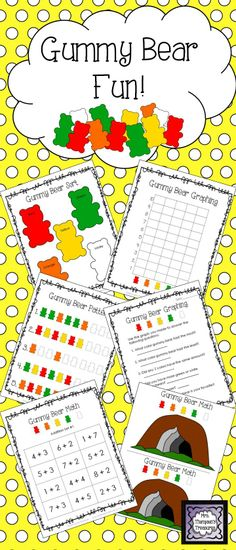 Gummy Bear Fun Activity Pack - Students love using candy to practice skills! This pack gives you some great activities and ideas using Gummy Bears. These are great to use during a unit about winter, bears, or hibernation.    Includes:  Estimation Class Activity  Sorting Mat  Tally Chart  Graphing & Questions  Pattern Practice  Logic Activity  Addition & Subtraction Center Activity