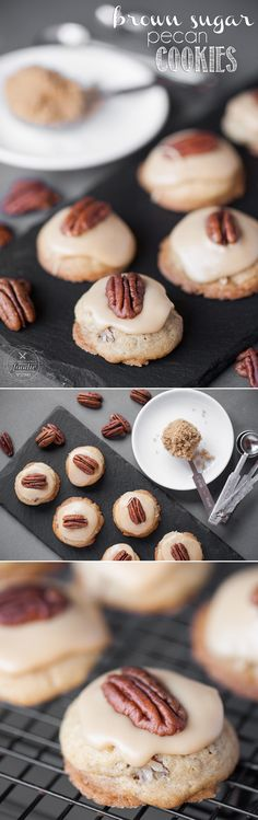 *COPIED COPIED Super soft Brown Sugar Pecan Cookies with a brown sugar frosting are an easy to make treat perfect year round, or for the holidays, that everyone will love! Holiday Cookie Recipes, Cookie Desserts, Holiday Baking, Christmas Baking, Just Desserts, Delicious Desserts, Dessert Recipes, Christmas Recipes, Christmas Cookies