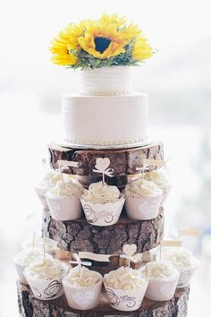 Buttercream Roses wedding cupcake tower. Mini rosette cupcakes in ...