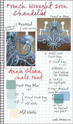 COLORWAYS  Project Journal Step by Step.  French Wrought Iron Chandelier.  Annie Sloan Chalk Paint