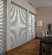 Our Made to Measure Sheer Horizon Blinds allow complete control of light, the Sheer Horizon blind uses a tilt operation to switch from dim-out to sheer. Available in a variety of colours | Rimini Blinds | Grey Sheer Horizon Blinds |