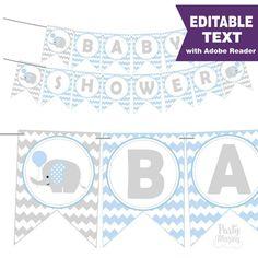 Blue Elephant Baby Shower Banner - Editable Text Printable Banner - Baby Boy Garland D445 BBEB2