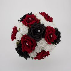 red, white, and black bouquet ~ Image detail for -Black, Red and White Bridal Posy Black Bouquet, White Wedding Bouquets, White Wedding Flowers, Wedding Flower Arrangements, Flower Bouquet Wedding, Wedding Centerpieces, Wedding Colors, Wedding Decorations, White Bridal