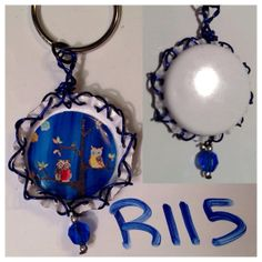Original Blue Owls Painting Print In Bottle Cap by RaysPaintings, $5.00
