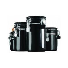 Black Canister Set 4 Piece Kitchen Counter Flour Sugar Coffee Tea Lids Ceramic #AnchorHocking