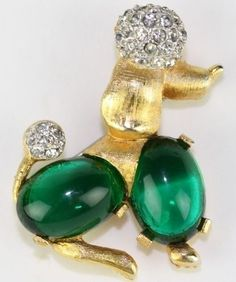 Vintage Green Jelly Glass Cabochon Figural Poodle Dog Pin Signed CHAREL