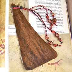 Oversized #Bookmark #Leather #Cowhide #Hemp #Tassel with Hand #Painted #Beads @haydenbrook $18.99