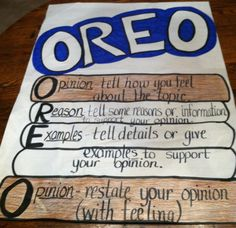"""""""Oreo"""" Anchor Chart for Persuasive Writing  www.teachthis.com"""