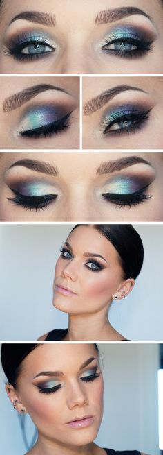 Today's Look: Angel Eyes -Linda Hallberg (this eye look has it all, smokey, color,metallics, shimmer. Blues and browns) 04/05/13