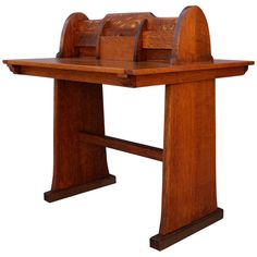 Uniquely designed two-sided letter desk. It features a simple, graphic design that can be mixed with Modern or with classic Arts & Crafts furnishings, 1910s
