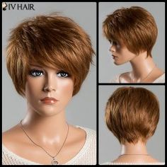 Fashion Long Neat Bang Attractive Shaggy Wavy Capless Real Natural Hair Wig For Women in Auburn Brown 30#   Sammydress.com Mobile