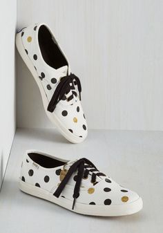 Dot You'd Never Ask Sneaker by Keds - Cream, Blue, Gold, Polka Dots, Glitter, Casual, Quirky, Better, Lace Up, Flat, Woven, Lounge