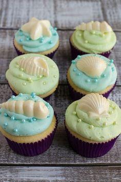 Vanilla sea shell cupcakes - Under the Sea birthday party