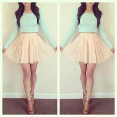 Long sleeve mint crop top with peach skirt and brown heels