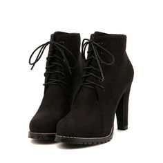 SheIn(sheinside) Black Platform Lace Up Rugged High Heeled Boots ($36) ❤ liked on Polyvore featuring shoes, boots, heels, black, sapatos, platform boots, lace up high heel boots, high heeled footwear, chunky platform boots and black lace up boots