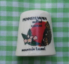 Vintage Thimble Pennsylvania State Bird and State Flower Ruffed Grouse and Mountain Laurel Collectible Souvenir https://etsy.me/2IWOOmf #vintage #collectibles #white #red #thimble #teamwwes #sewingnotion #sewingsup