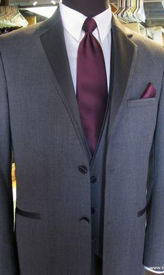 Charcoal Gray Tuxedo with Matching 3 Button Vest and Sangria Wine Satin Dress Tie   Tux Shop   Tuxedo Rentals   Suit Rentals   The Gentlemen's Tux Club San Diego   Tux and Suit Sales