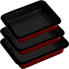 SET OF 3 NON STICK DEEP ROASTING OVEN BAKING BROWNIE BIRTHDAY CAKE TIN TINS TRAY | eBay 11,47e