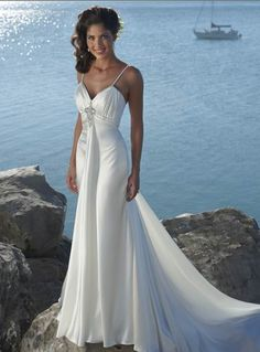 Romantic Spaghettie Straps Beads Satin Beach Wedding Dress (BWD-123)
